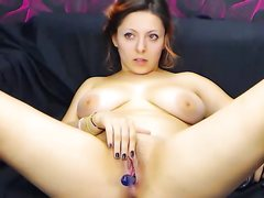 Fabulous lady masturbates with useful dildo