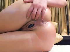 Close-up butt masturbation action on cam