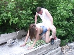 Badass bonked girl and creampied outdoors