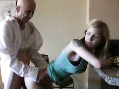 Amateur tattoed girl fucks by mature man