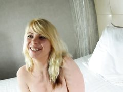 Amazing french blonde rides hard dick on cam