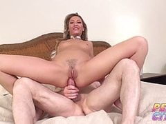 Super-steamy blond damsel gets pussy licked and anus poked