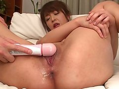 Tight up Asian whore gets abused with a tiny nasty dildo